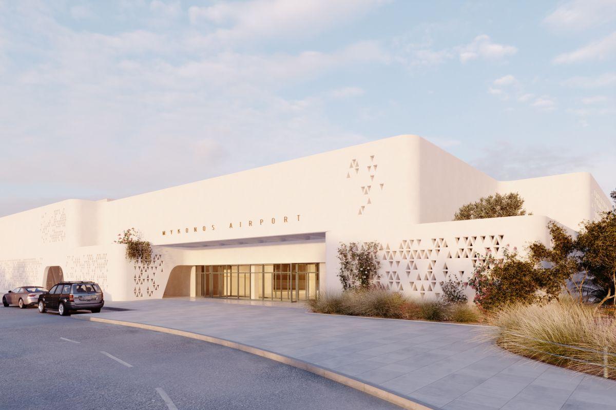 Architectural design of Mykonos Airport. Photo source: Fraport Greece