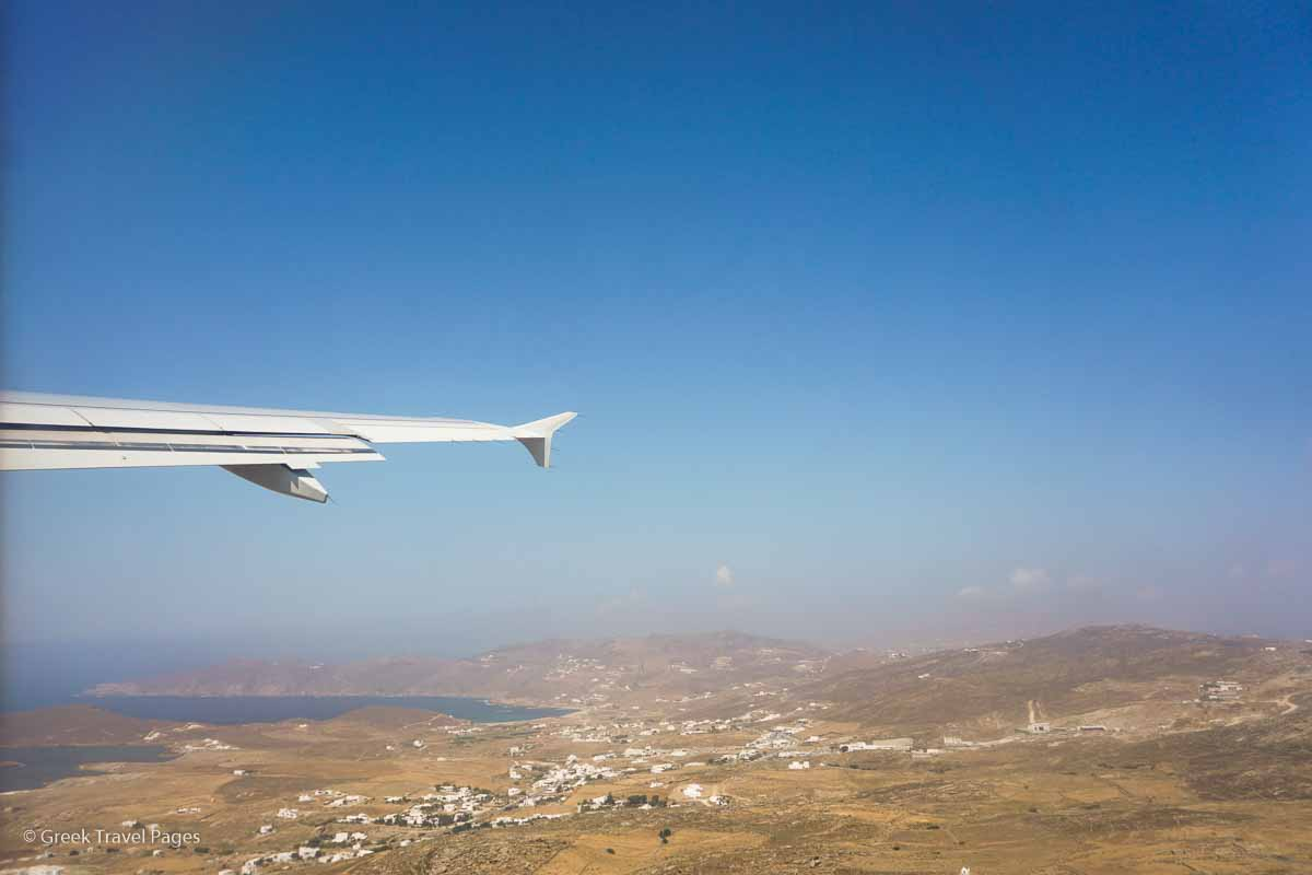 Aircraft flying over Mykonos.