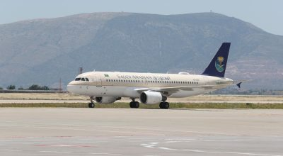 Saudia Airlines at Athens International Airport (AIA).