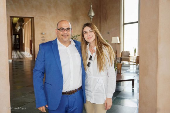 Atlantica Hotels & Resorts Assistant Marketing Manager Andria Theodorides with TUI SENSIMAR Atlantica Belvedere Resort & Spa Manager Stefanos Kitrinas.