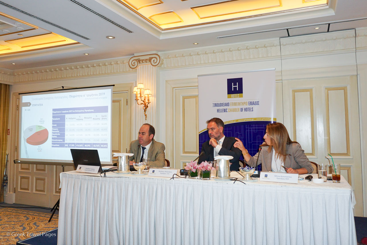 ITEP General Director Professor George Petrakos, Hellenic Chamber of Hotels President Alexandros Vassilikos and ITEP President Konstantina Svinou, presenting ITEP's latest findings.