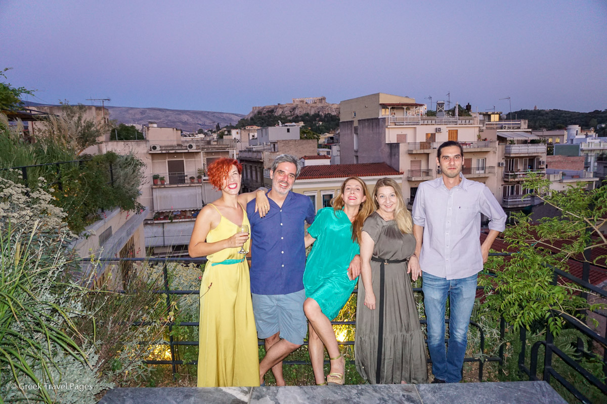 The owners of The Foundry Hotel Athens, Marios Koulouros and Miltos Portokalis, with (from left) Greek architect Efi Malandraki and Press à Porter's Ioanna Alexatou and Flora Paraskevopoulou.