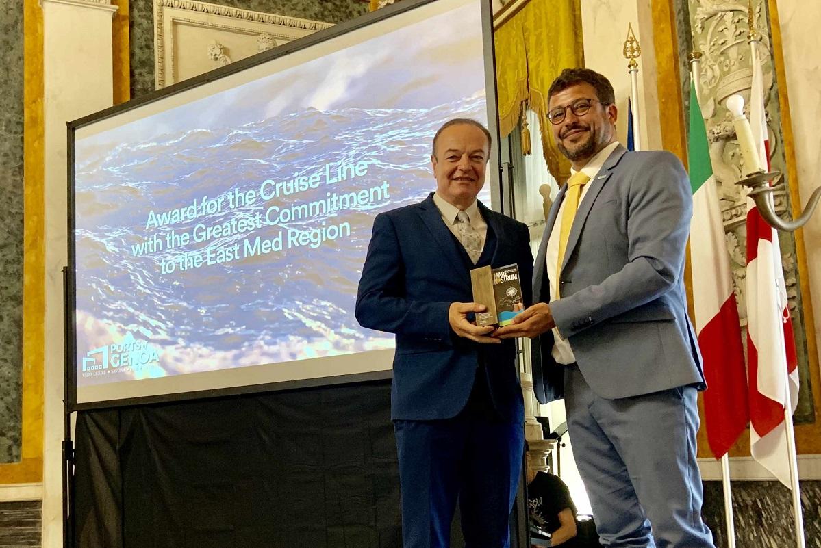 Captain Vasilis Gazikas, Director of Marine Operations at Celestyal Cruises and Airam Díaz Pastor, President of MedCruise.