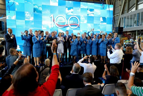 KLM event at Amsterdam Airport Schiphol, marking the 100th day before its 100th anniversary on October 7.
