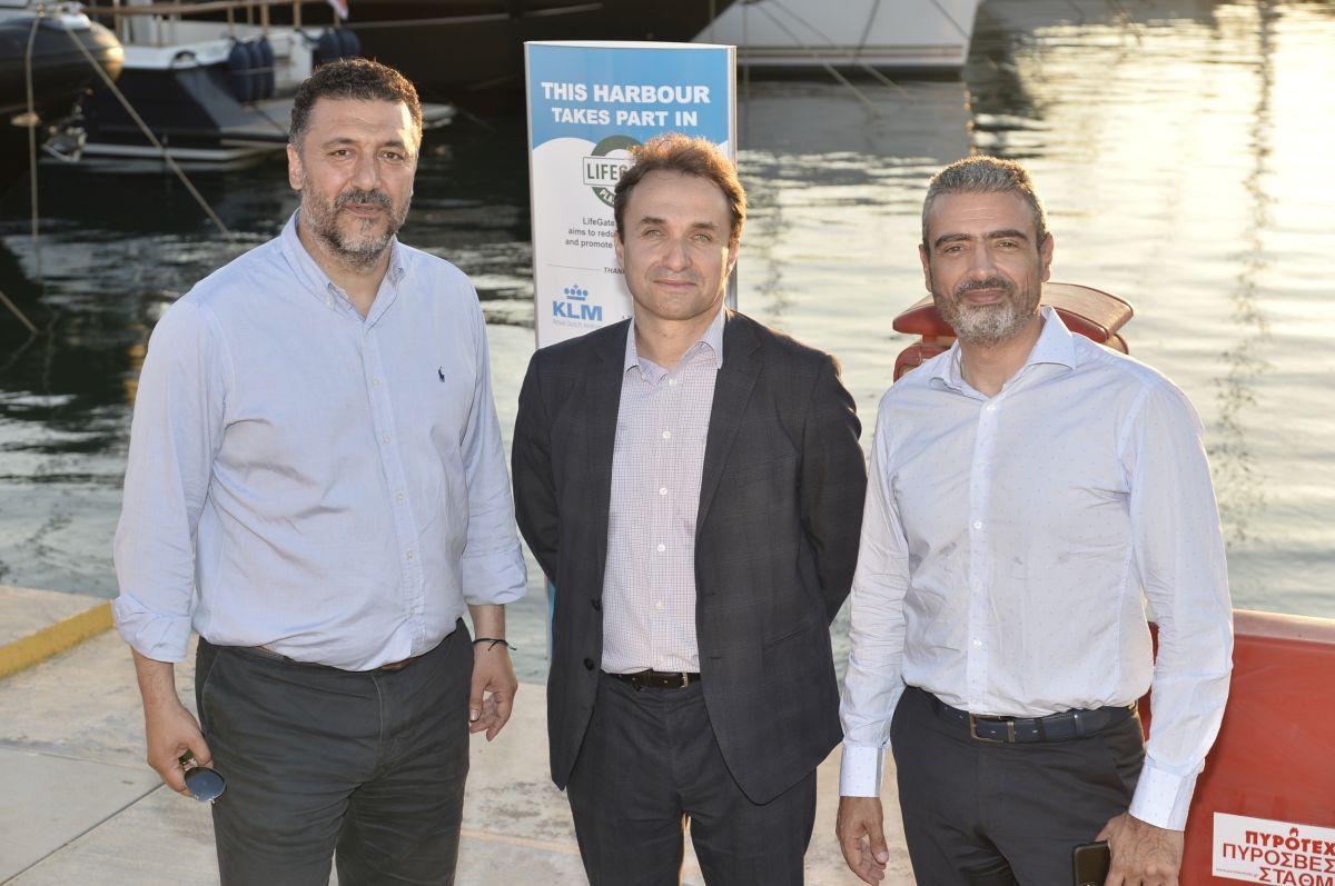 Paleo Faliro Mayor Yiannis Fostiropoulos, Air France-KLM East Mediterranean General Manager Jerome Salemi and LAMDA Flisvos Marina Managing Director Stavros Katsikadis.