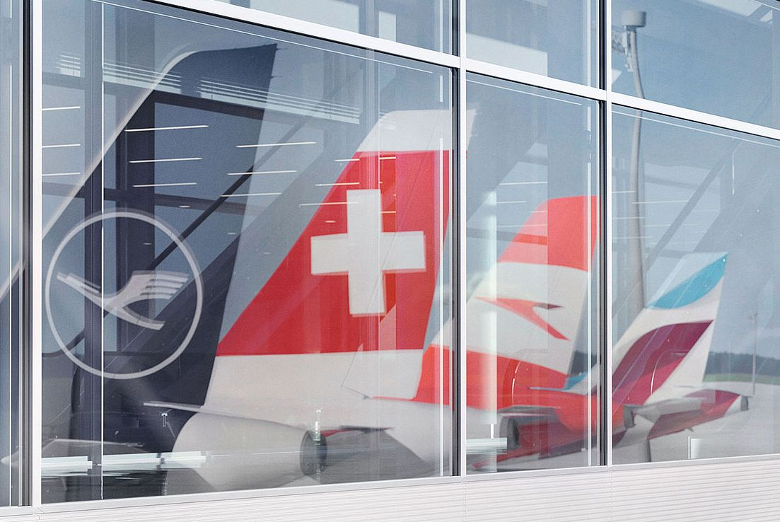 Lufthansa Group's network airlines Lufthansa German Airlines, SWISS and Austrian Airlines; and its low-cost airline Eurowings. Photo source: Lufthansa Group