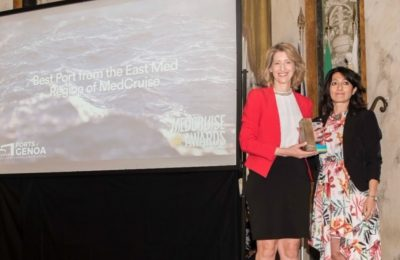 Piraeus' award was received by the Manager of Strategic Planning & Marketing of the Piraeus Port Authority (PPA),Theodora Riga.