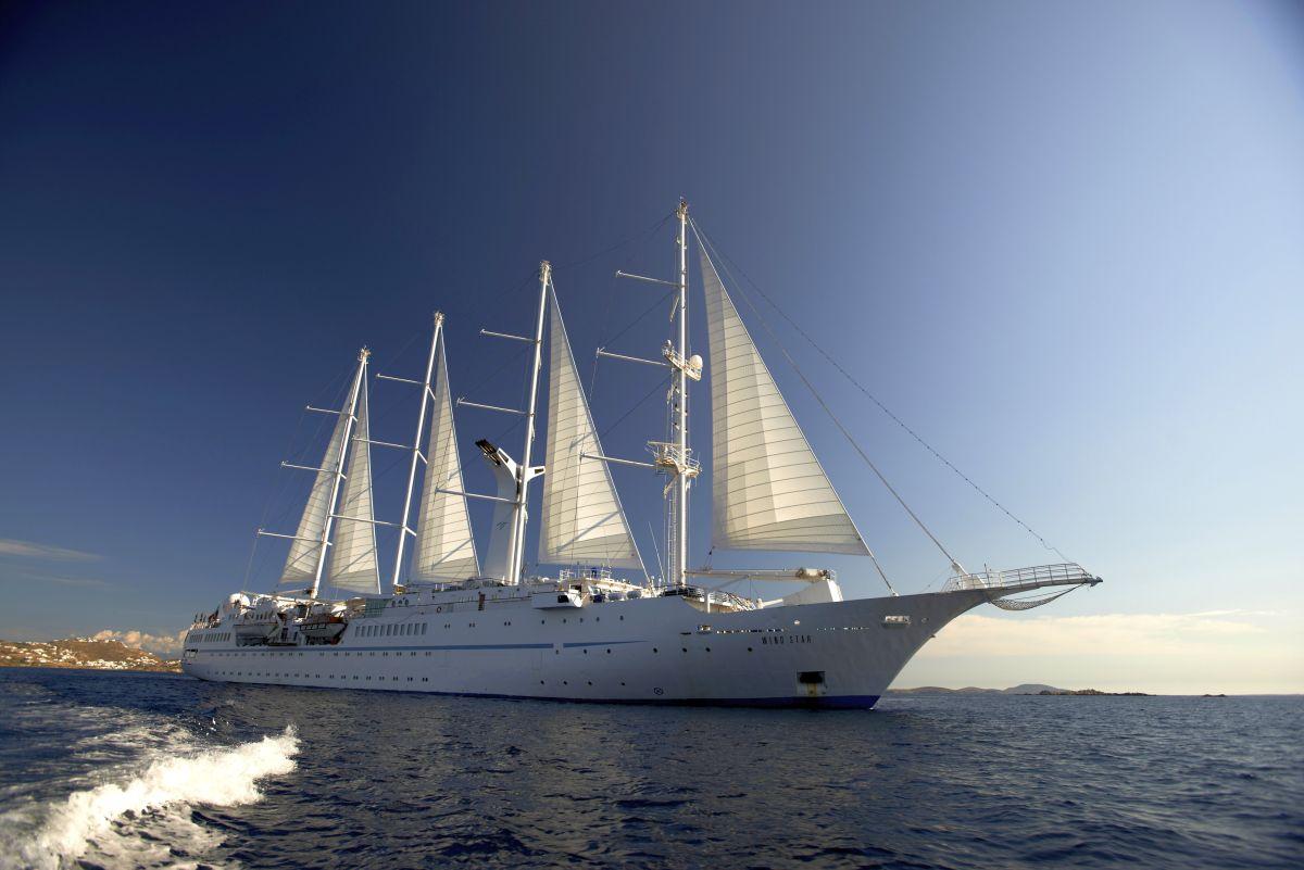 The Wind Star vessel off Mykonos in Greece. Photo © Windstar Cruises