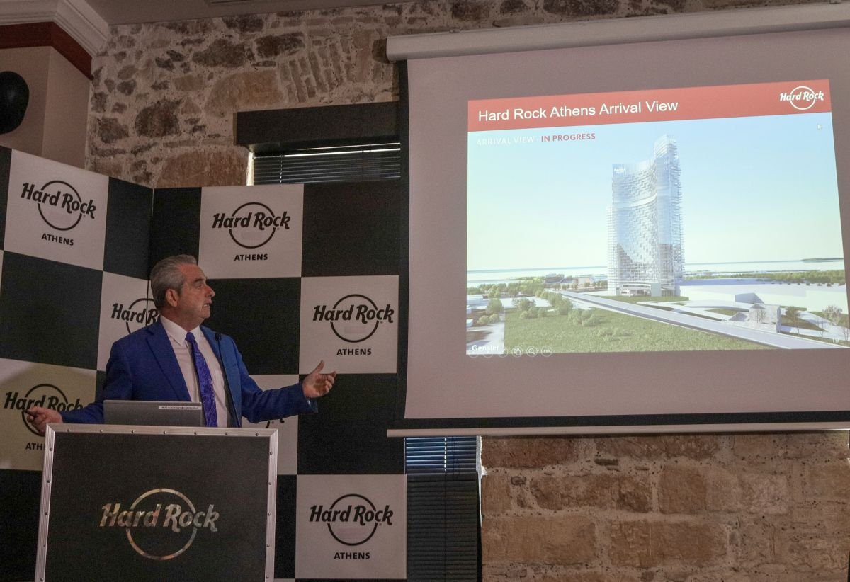 Hard Rock International Chairman and CEO Jim Allen showing an impression of the company's proposed Hard Rock Athens integrated resort and casino in Hellinikon. Photo © EUROKINISSI