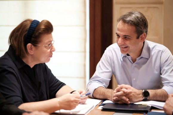 Greek Prime Minister Kyriakos Mitsotakis and Culture Minister Lina Mendoni. Photo Source: Culture Ministry