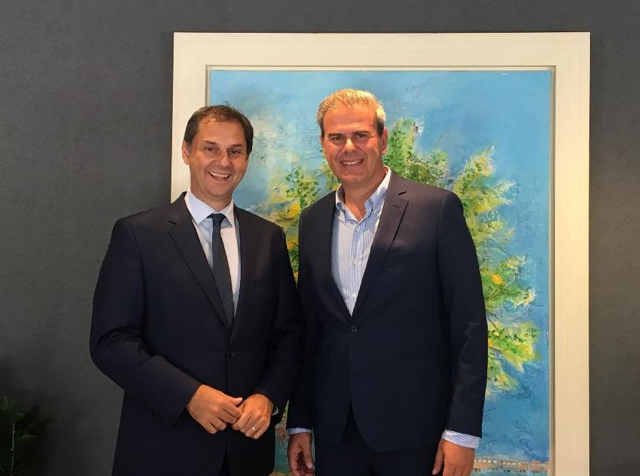 Greek Tourism Minister Harry Theoharis with the new secretary general of the GNTO, Harry Theoharis.