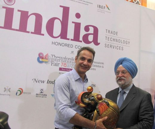 Greek Prime Minister Kyriakos Mitsotakis and India's Minister of Commerce and Industry, Shri Hardeep Singh Puri.