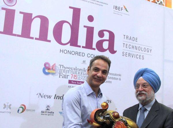 Greek Prime Minister Kyriakos Mitsotakis at Indias pavillion in Thessaloniki International Fair