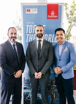 Manolis Anastasiou, Emirates Senior Sales Executive; Khalid Al Zarooni, Emirates Area Manager for Greece and Albania; and Joseph Alcantara, Emirates Marketing Communications Manager.