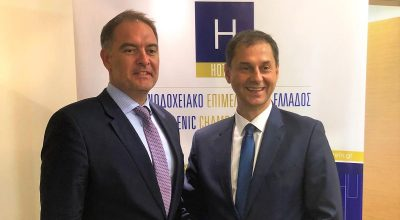Alexandros Vassilikos, President of the Hellenic Chamber of Hotels with the Greek Minister of Tourism Haris Theocharis