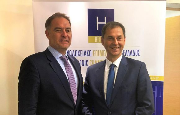 Hellenic Chamber of Hotels Alexandros Vassilikos and Greek Tourism Minister Harry Theoharis.