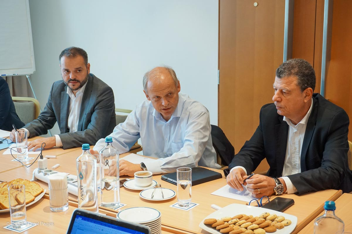 Evangelos Georgiou, TUI Senior Manager Media Relations International Markets; Sebastian Ebel, TUI Chief Operating Officer; and George Dimas, TUI Group Head of Region South & West Greece.