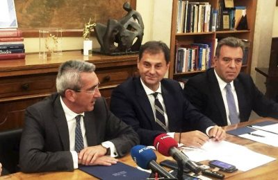 South Aegean Governor George Hatzimarkos; Greek Tourism Minister Harry Theocharis; Deputy Tourism Minister Manos Konsolas