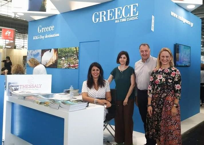 The stand of the Region of Thessaly at the TourNatur 2019, with Tasos Gousios, Alpha Marketing; Vicky Stroubou, Director of the GNTO office in Germany; and Maria Papaconstantinou, Consul of North Rhine Westphalia.