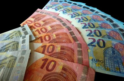 Euro bills. Money.