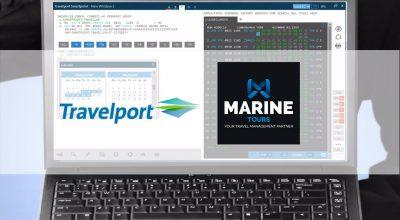 Laptop demonstrating Travelport's application