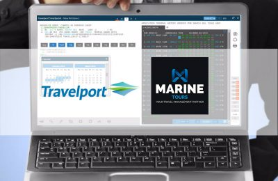 Laptop demonstrating Travelport's application