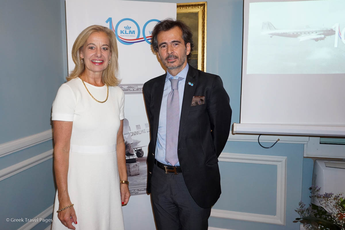 Dutch Ambassador to Greece Stella Ronner and Air France KLM Regional Manager Greece Yiannis Pantazopoulos.