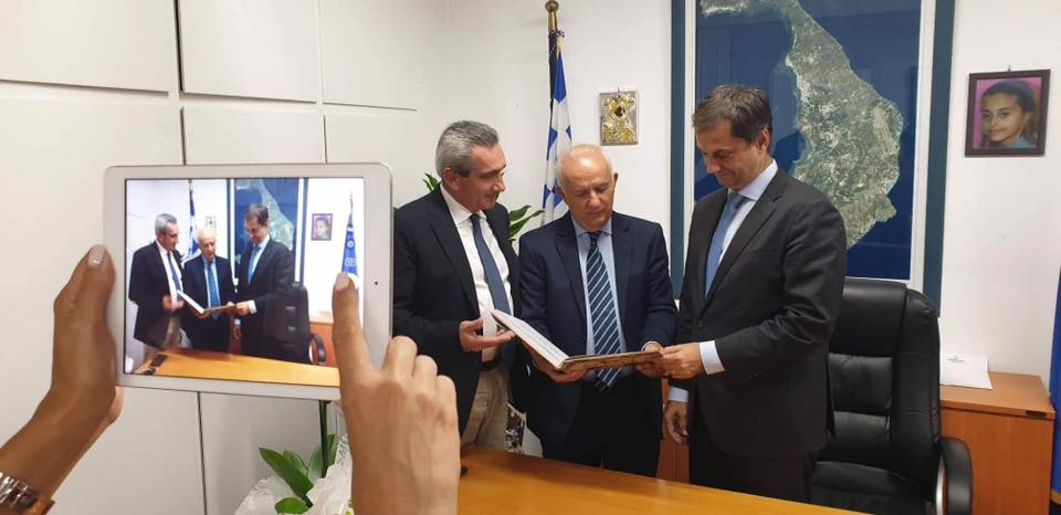 Greek Tourism Minister Harry Theoharis with South Aegean Regional Governor George Hatzimarkos (left).