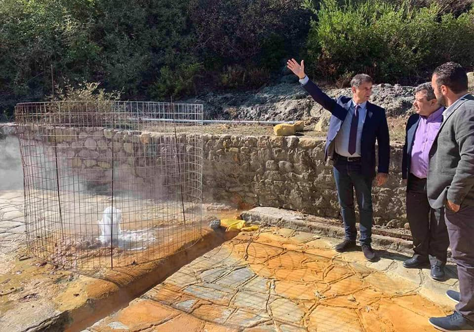Greek Tourism Minister Harry Theoharis on Samothrace with the island's mayor, Nikos Galatoumos.