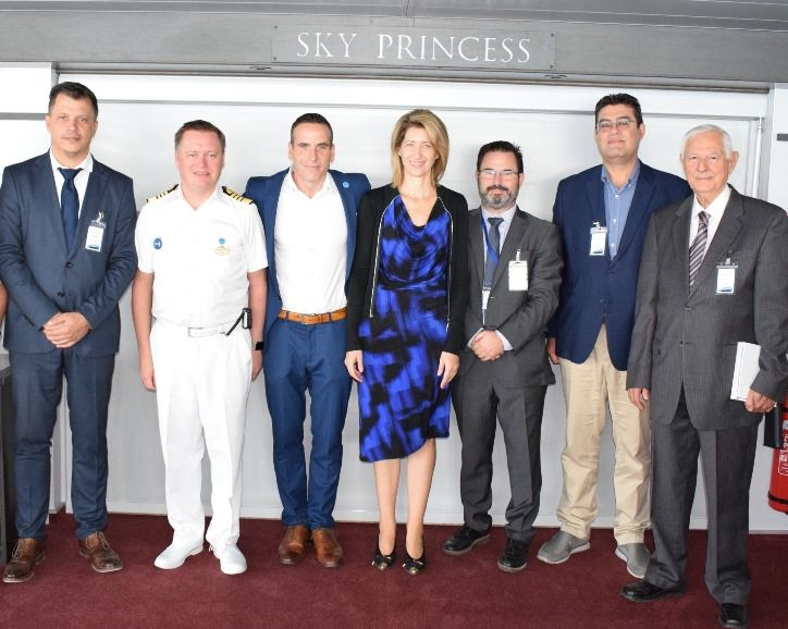 John Efstathiou, Inchcape Shipping Services; Cpt. Heikki Laakkonen; Jeffrey Matthew Cohen, Manager Port Operations of Holland America Group; Theodora Riga, Manager of PPA S.A. Strategic Planning & Marketing; Christos Makrialeas, Managing Director of Inchcape Shipping Services; Dimitris Agrapidis, Deputy Manager of PPA S.A. Cruise and Ferry Terminal Dept.; and Antonis Kaloudis, Union of Cruise Ship Owners & Associated Members.