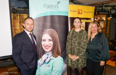 BBT Air Sales & Marketing Manager Konstantinos Melas with Cyprus Airways' Marilyn Constantinou (Sales Manager) and Kiki Haida (PR and Marketing Manager).