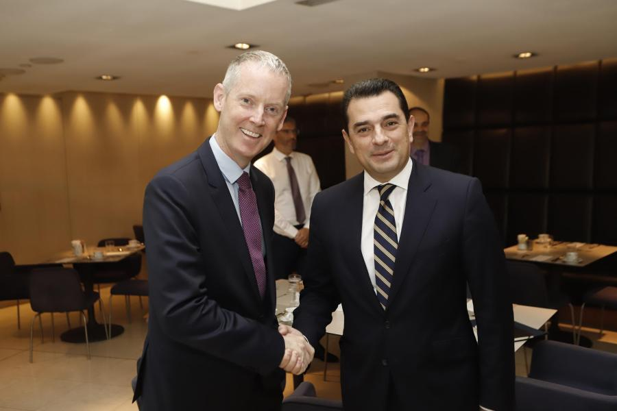 European Investment Bank Vice President Andrew McDowell and Gree Deputy Minister for Rural Development and Food Kostas Skrekas.