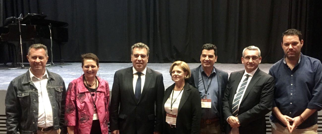 Greek Deputy Tourism Minister Manos Konsolas (center) with South Aegean Regional Governor George Haztimarkos, FEG President Efi Kalampoukidou and members of POXEN.