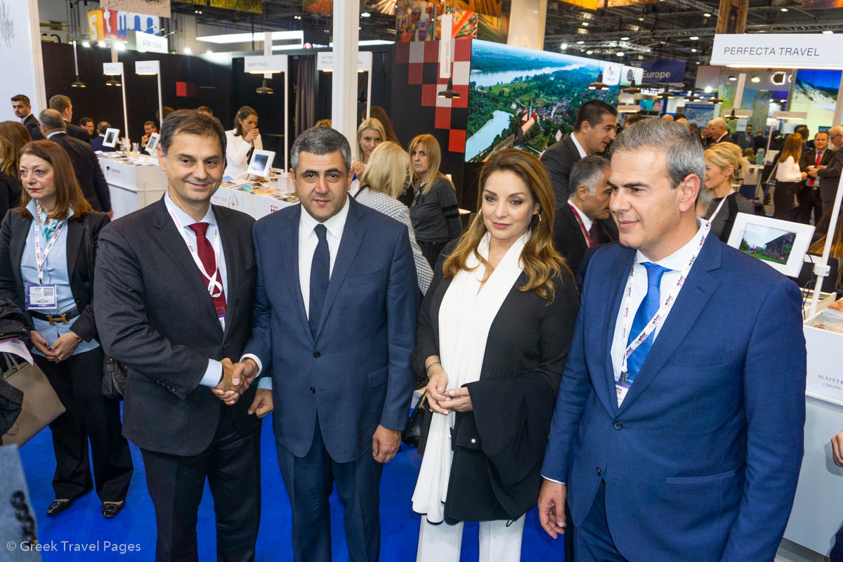 Greek Tourism Minister Harry Theoharis, World Tourism Organization (UNWTO) Secretary General Zurab Pololikashvili, GNTO President Angela Gerekou and GNTO Secretary General Dimitris Fragakis.