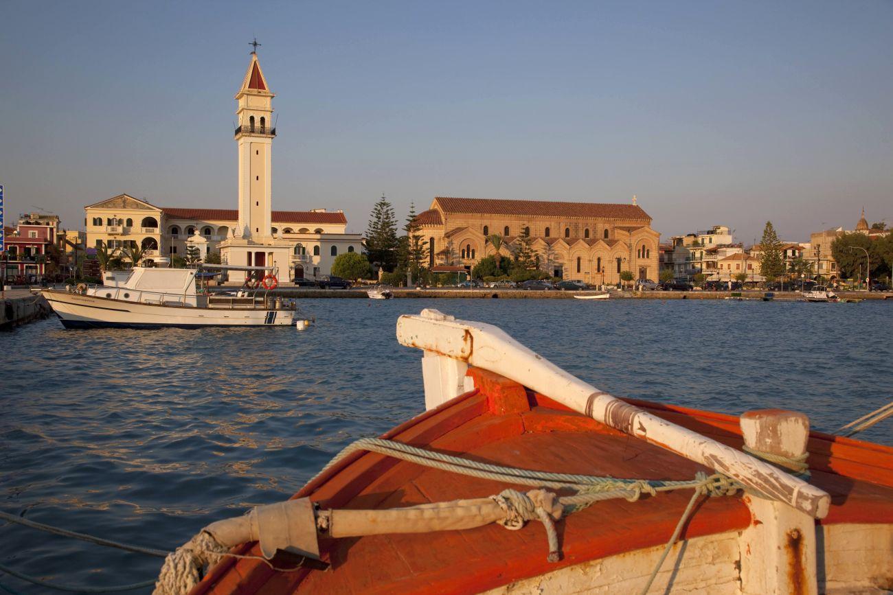 Agios Dionyssios Church and harbour, Zakynthos, Ionian Islands.