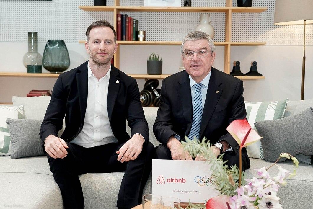 Airbnb Co-Founder Joe Gebbia and IOC President Thomas Bach. Photo: IOC/Greg Martin