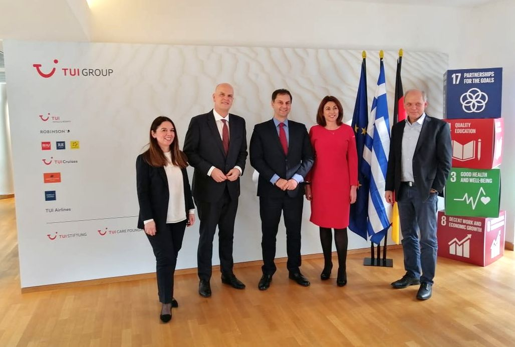 Greek Tourism Minister Harry Theoharis with top executives of TUI Group.