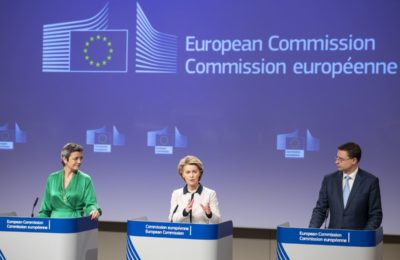 European Commission President Ursula von der Leyen (center) with Commission Executive Vice-President in charge of Europe fit for the Digital Age Margrethe Vestager and Commision Executive Vice-President for the Euro and Social Dialogue Valdis Dombrovskis.