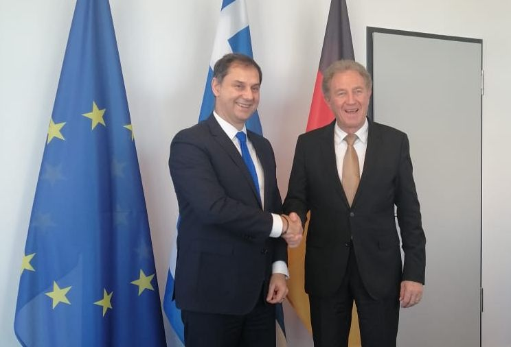 Greek Tourism Minister Harry Theoharis with Norbert Barthle, the German Vice Minister for Economic Cooperation and Development.