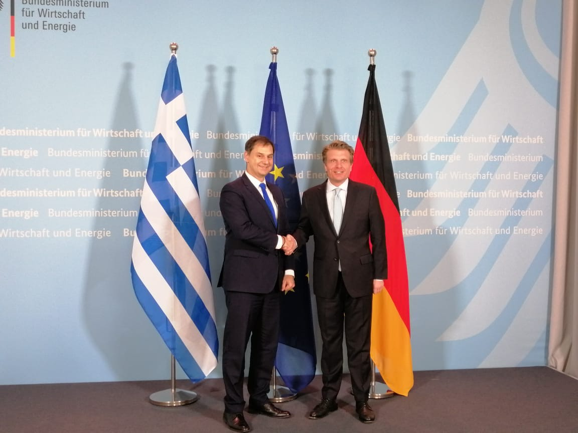 Greek Tourism Minister Harry Theoharis with Germany's Deputy Minister of Economy and Energy, Thomas Bareiß in Berlin.