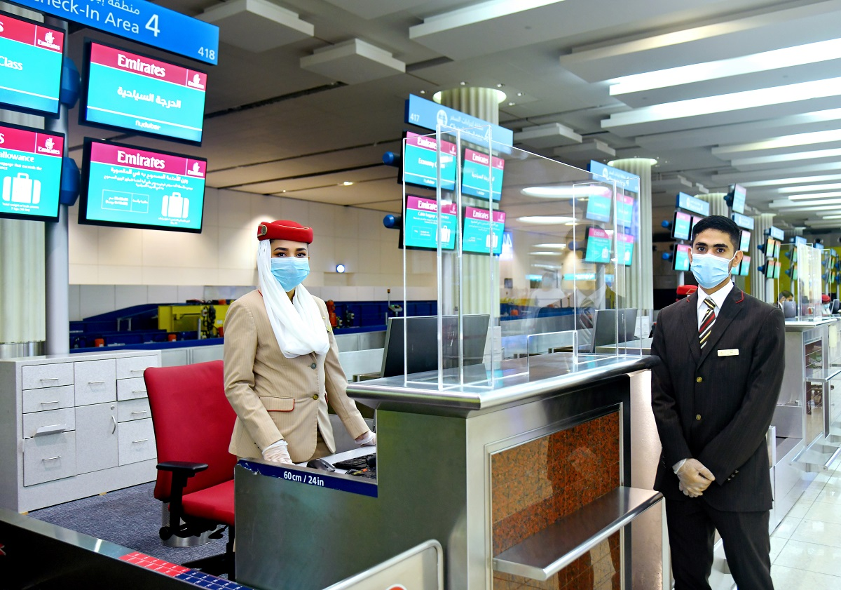 Protective barriers have been installed at check-in desks for additional safety reassurance to passengers and employees during interaction over the counter.