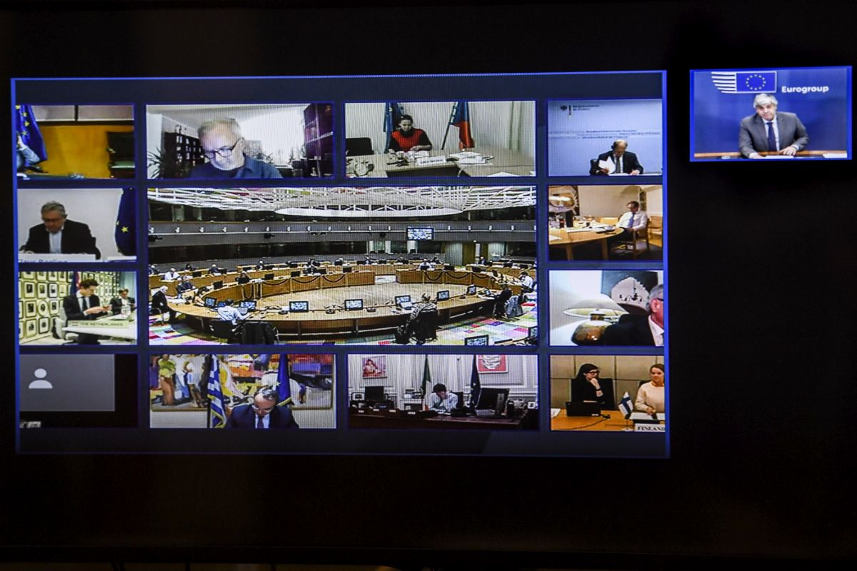 Videoconference of the Eurogroup, roundtable in Lisbon.