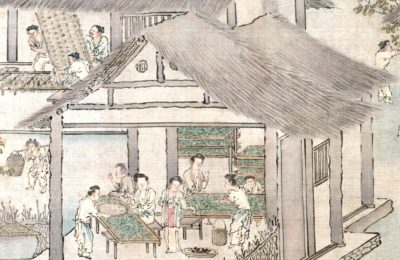 Women placing silkworms on trays together with mulberry leaves (Sericulture by Liang Kai, 1200s). Source: Wikipedia