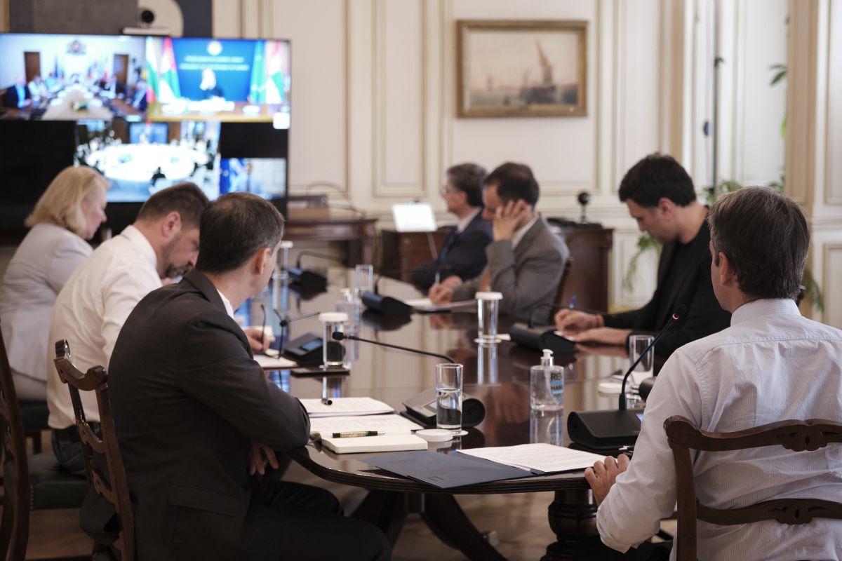 Greek PM Kyriakos Mitsotakis taking part in the Quadrilateral Summit of Greece, Bulgaria, Romania and Serbia.