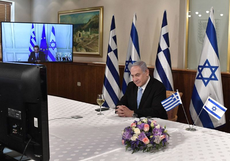 PM Netanyahu having a video conference with Greek PM Mitsotakis, marking 30 years since the establishment of diplomatic relations between Israel and Greece. Photo source: Israel Ministry of Foreign Affairs. Copyright: GPO/Kobi Gideon