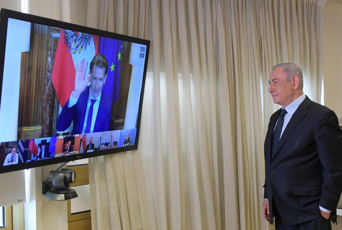 Israeli Prime Minister Benjamin Netanyahu during the videoconference. Photo source: @netanyahu