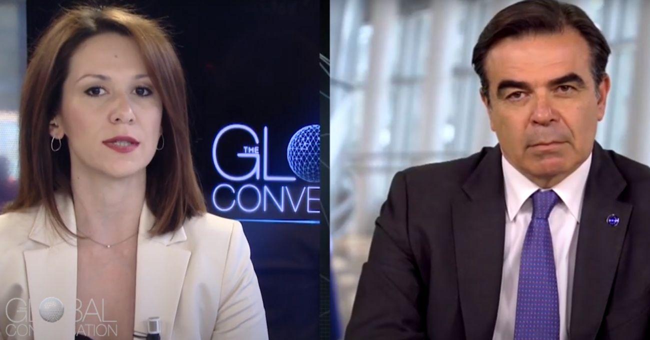 Euronews' Efi Koutsokosta and European Commission VP for Protecting our European Way of Life Margaritis Schinas.