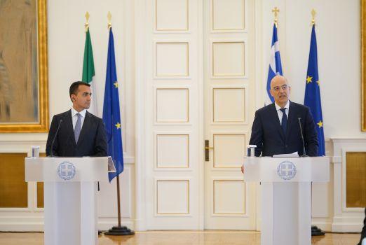 The foreign minister's of Italy, Luigi Di Maio and Greece, Nikos Dendias.