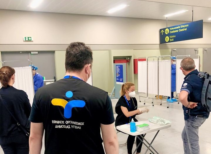 Greek National Public Health Organization's (EODY) crew this week conducted COVID-19 tests to passengers of international flights that arrived on the island of Kos. Photo Source: @EODY