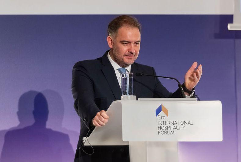 Hellenic Chamber of Hotels President Alexandros Vassilikos at last year's International Hospitality Forum. Photo source: ihf.gr